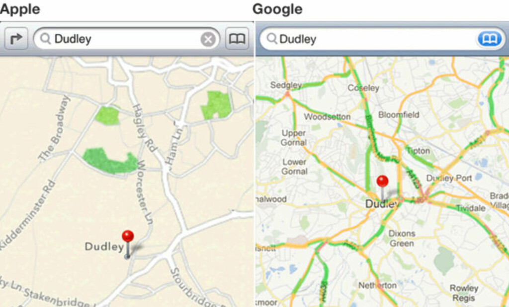 PLASSERT FEIL: Dudley er her plassert helt feil på Apples nye kartapplikasjon til blant annet iPhone. Foto: Skjermdump