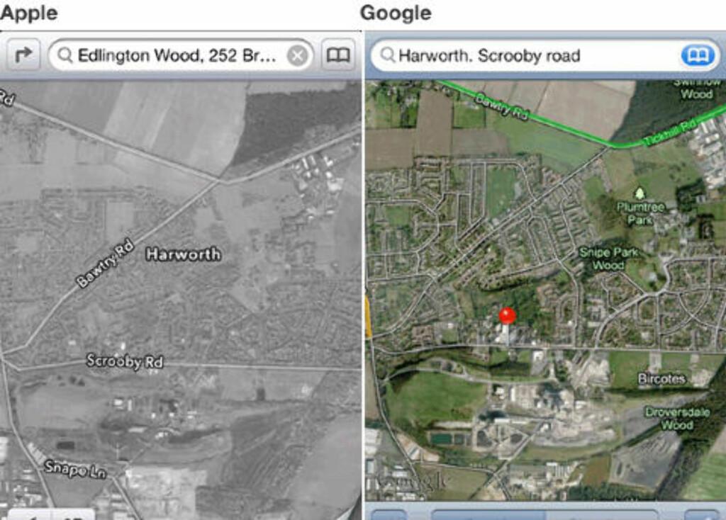UKLARE BILDER: Satelittbildene viser en stor forskjell på bildekvaliteten. Til høyre er Apples bilder som tydelig ikke viser samme detaljer. Foto: Skjermdump