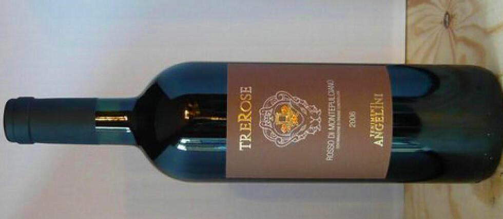 SEKSER FRA TOSCANA: Trerose Rosso di Montepulciano, Angellini 2010 scorer 83 poeng og koster 99,90. Dette er et meget godt kjøp, sier vineksperten.