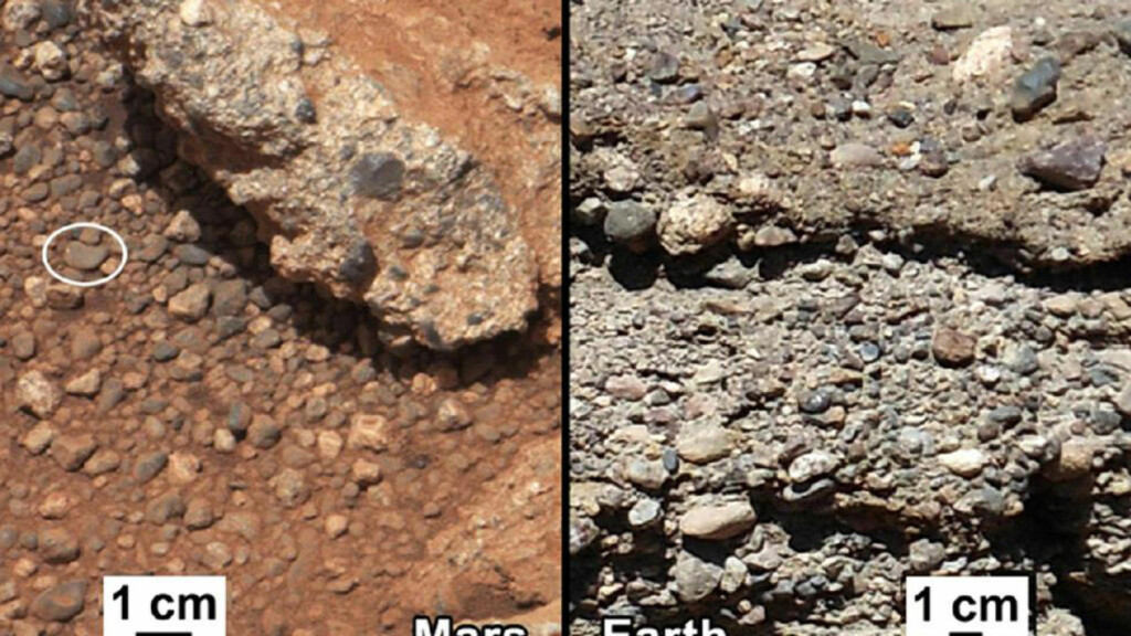 TYDELIGE SPOR: «Curiosity» har funnet spor etter en bekk på Mars. Bildet sammenligner funnene på Mars med et uttørket elveleie på jorda. Foto: AP Photo / NASA