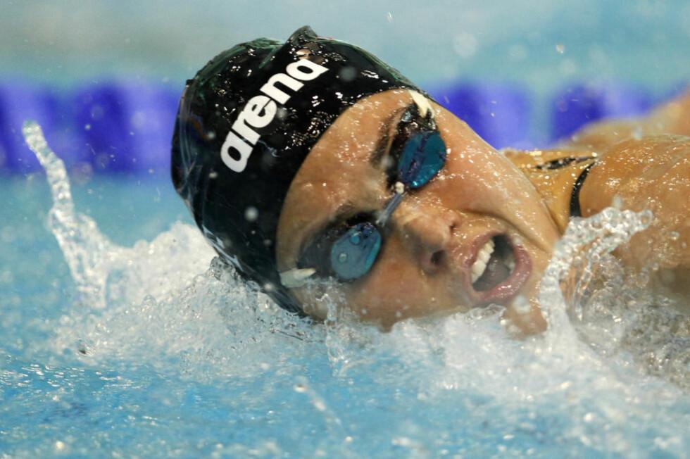 ANNENPLASS: Ingvild Snildal svømte inn til en annenplass på 100 meter butterfly i verdenscupen i kortbanesvømming lørdag. Foto: Laszlo Balogh / REUTERS / NTB Scanpix