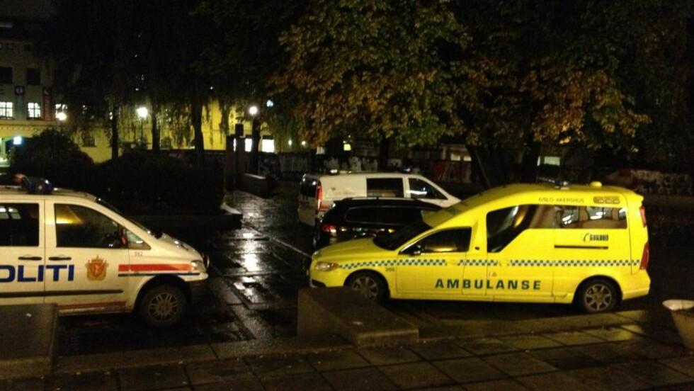 SLAGSMÅL: Ifølge politiet ble det slagsmål mellom personer fra organisasjonene Tjen Folket og Indiasolidaritet i kveld. Foto: Therese Doksheim / Dagbladet
