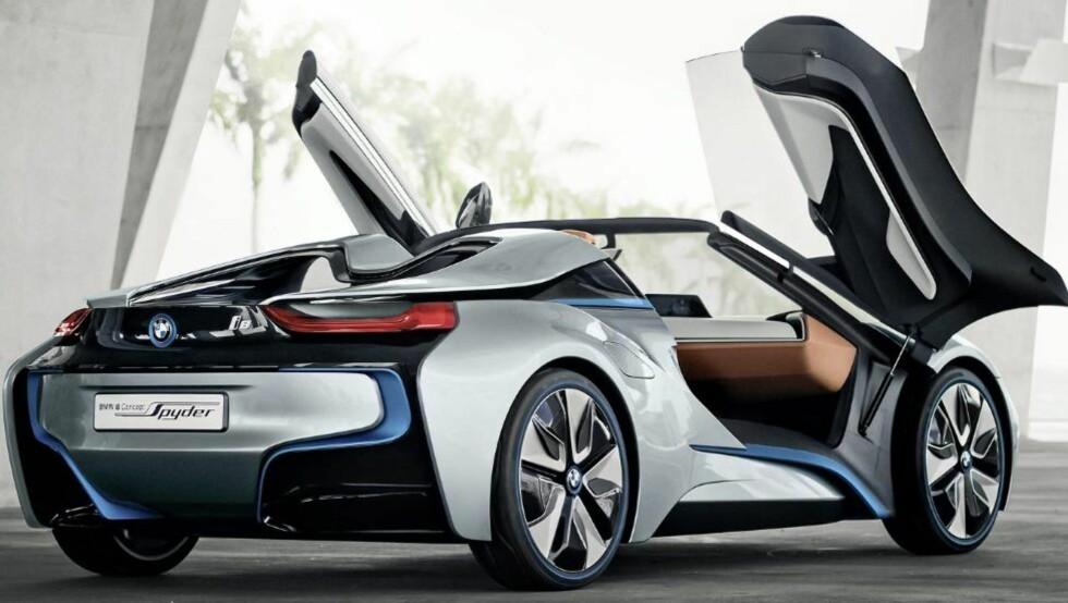 EL-KONSPET: i8-konseptet som BMW har vist frem ved flere anledninger, vil sannsynligvis være basisen for en superbil fra det tyske merket. FOTO: BMW