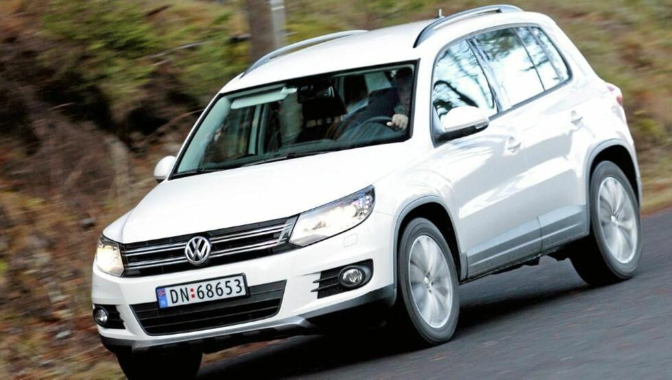 2WD: Drøye 43 prosent av storselgeren VW Tiguan selges med bare forhjulstrekk. Foto: Egil Nordlien, HM Foto