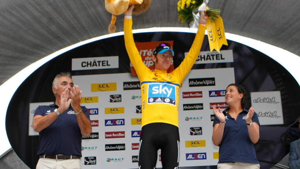 ANDRE ÅRET PÅ RAD: Bradley Wiggins vant Critérium du Dauphiné for annet år på rad, med Edvald Boasson Hagen som en av hjelperytterne. Foto: AP Photo/Claude Paris