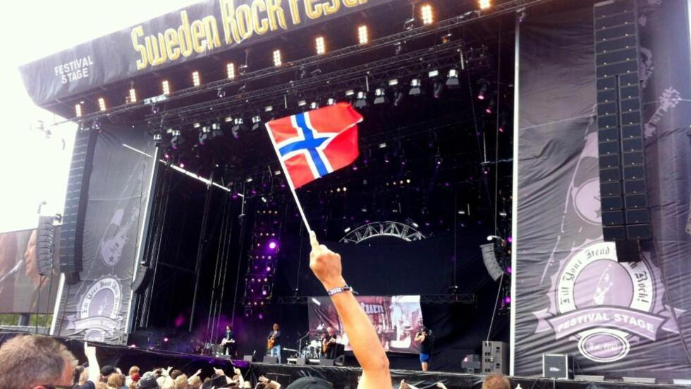NORSK ÅPNING: 80-tallsheltene Return fra Hedmark fikk æren av å åpne hovedscenen på Sweden Rocks siste dag. Foto: Torgrim Øyre