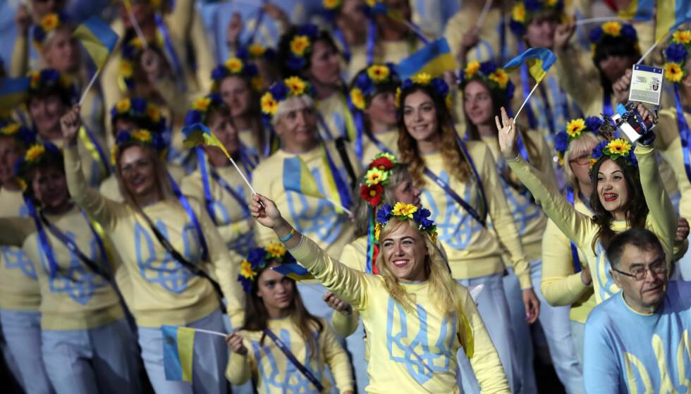 IMPONERER: Ukraina tok 117 medaljer i Paralympics og var tredje beste nasjon bak Kina og Storbritannia. Dette bildet er fra åpningssermonien på Maracana. Foto: REUTERS/Ueslei Marcelino
