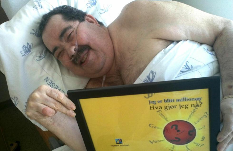 GA BORT MILLIONGEVINSTEN: Arnfinn Olsen (60) vant lørdag 2. juni 12 millioner kroner i Lotto. Nå er hele gevinsten gitt bort og Olsen sier det er en fantastisk følelse å dele med andre som trenger pengene mer. Foto: Privat