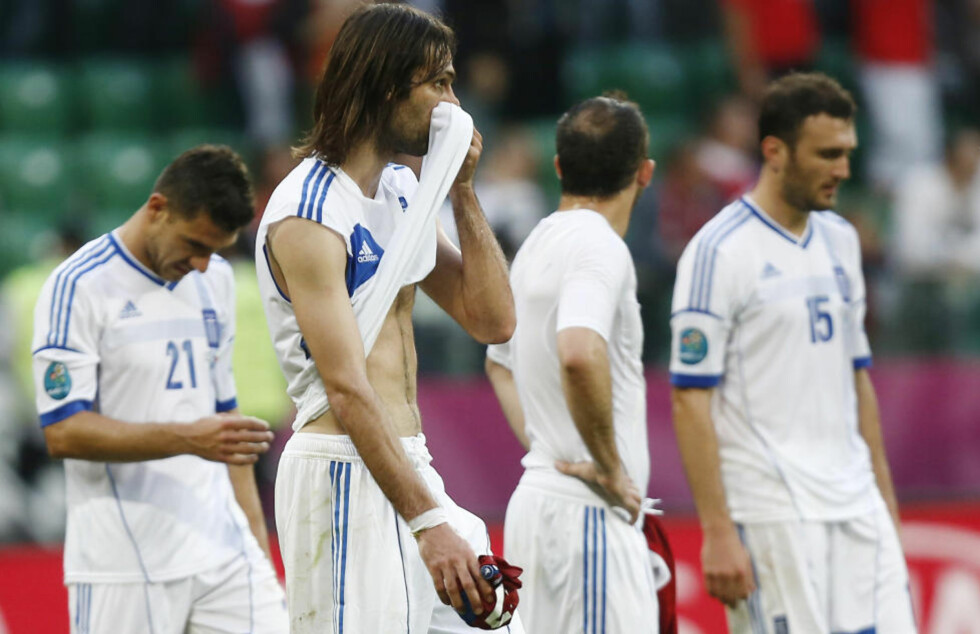 ILLE UTE, MEN IKKE UTSLÅTT: Giorgos Samaras og Hellas ligger sist i gruppe A, men har EM-skjebnen i egne hender.Foto: REUTERS/Dominic Ebenbichler/NTB scanpix