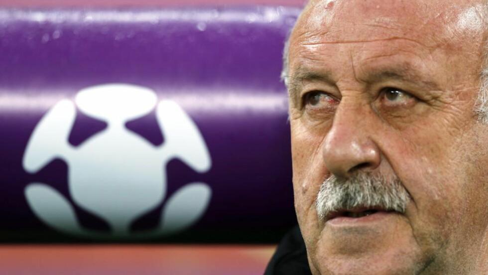 FORTSETTER TIL VM I 2014: Vicente del Bosque har gjort stor suksess som trener for Spania. Foto: EPA/OLIVER WEIKEN UEFA/NTB scanpix
