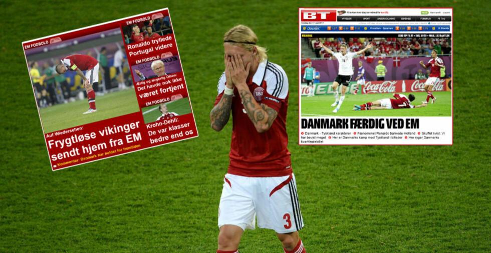 HYLLES: Ekstra Bladet og B.T. hyller de danske landslagsspillernes innsats i EM. I dag røk de ut etter tap mot Tyskland. Foto: AFP PHOTO / PATRIK STOLLARZ