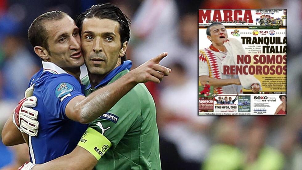 SLAPP AV Den spanske avisen Marca har skrevet «Slapp av, Italia. Vi bærer ikke nag» på forsiden i dag. De sikter til en 18 år gammel episode fra VM i USA der Luis Enrique ble albuet til blods av en italiensk spiller. Foto/Faksimilie: NTB Scanpix / Marca