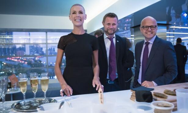 FINT SELSKAP: Gunhild Stordalen, Helseminster Bent Høie (H) og miljøvernminister Vidar Helgesen (H) i USA. Foto: Øistein Norum Monsen / Dagbladet