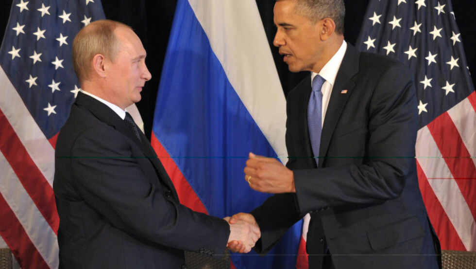 HEI IGJEN: Barack Obama og Vladimir Putin møtes for første gang siden Putins comeback som president i vår på G-20 møtet i Mexico. Fotp ALEXEI NIKOLSKY/AFP/Scanpix