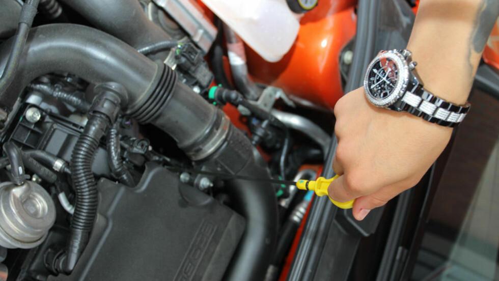 SOM ET OLJA LYN: Å sjekke oljen tar omtrent et minutt, og er den enkleste og viktigste sjekken man gjør. Foto: PETTER HANDELAND