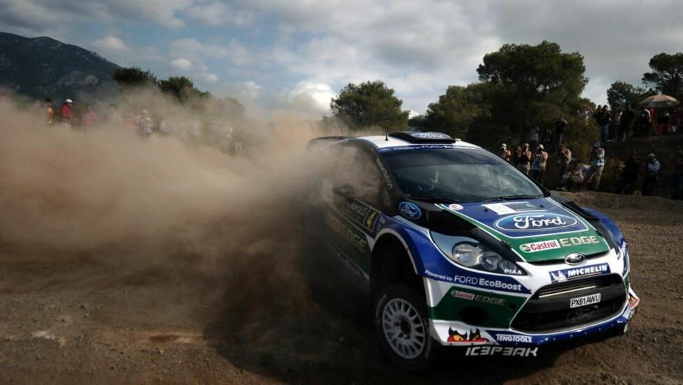 PÅ TREDJEPLASS: Petter Solberg kom på tredjeplass under shakedown i Rally New Zealand. Ford-kollega Jari-Matti Latvala var raskest.Foto: AFP PHOTO / ARIS MESSINIS / NTB scanpix