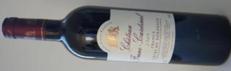 KENS UTVALGTE: Chateau Franc-Cardinal fra knallårgangen 2009 er en herlig vin.