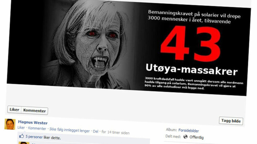 VOLDSOMME VIRKEMIDLER: Slik presenterte lokalpolitiker Magnus Wester sitt syn i solariumsdebatten på Facebook-veggen sin i dag.