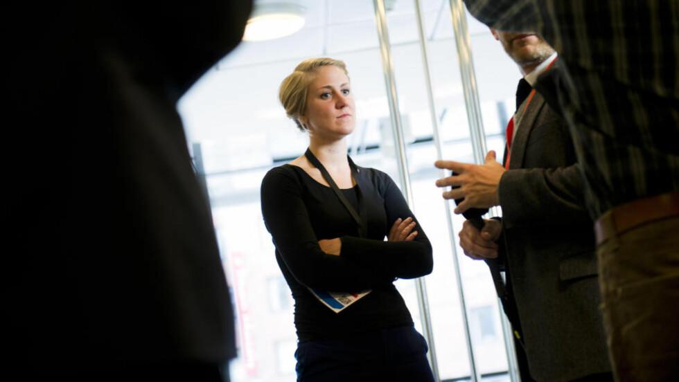 LESTE OPP AUF-BERETNINGER:  Generalsekretær i AUF Tonje Brenna hadde med seg beretninger fra AUF-ere på Utøya som hun leste opp på slutten av den siste rettssdagen i Oslo tingrett. REUTERS/Fredrik Varfjell/NTB Scanpix