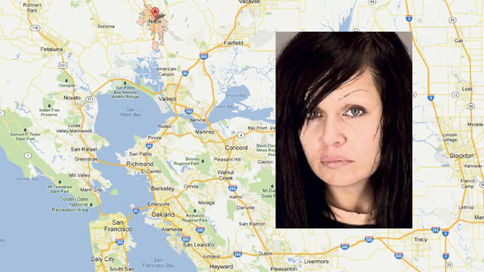 INCEST: Mistie Rebecca Atkinson fra Napa, en time nord for San Francisco i USA, benekter å ha begått incest med sin tenåringssønn etter at politiet fant en video som viser henne mens hun utfører oralsex på sin tenåringssønn. Foto: Google Maps/Napa County Jail