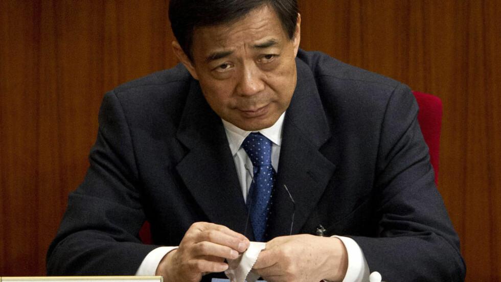 TAPTE MAKTKAMP: Bo Xilai var på vei opp mot toppen av kommunistpartiet da han brått ble avsatt og arrestert etter en kaotisk korrupsjonsskandale som blant annet innebefattet drapet på en britisk mann. Foto: AP / Andy Wong / NTB Scanpix