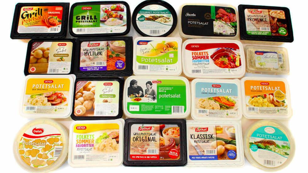 FINT TILBEHØR TIL GRILLMAT: Men sjekk fettinnholdet. Velger du en «feit» potetsalat, fordi du synes denne smaker best, så bør resten av måltidet være magrere, for eksempel rene fileter av svin og kylling, magre pølser og en frisk salat. Foto: ERIK HELGENESET