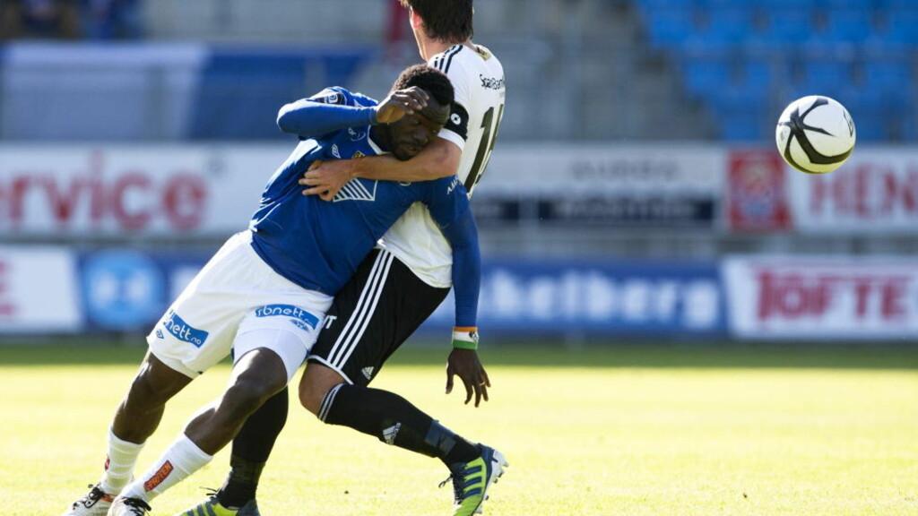 SJANSE PÅ SJANSE: Moldes Davy Claude Angan (t.v.) fikk nok med muligheter mot Rosenborg i kveld. Bare én av dem omsatte han i scoring. Foto: Svein Ove Ekornesvåg / NTB scanpix