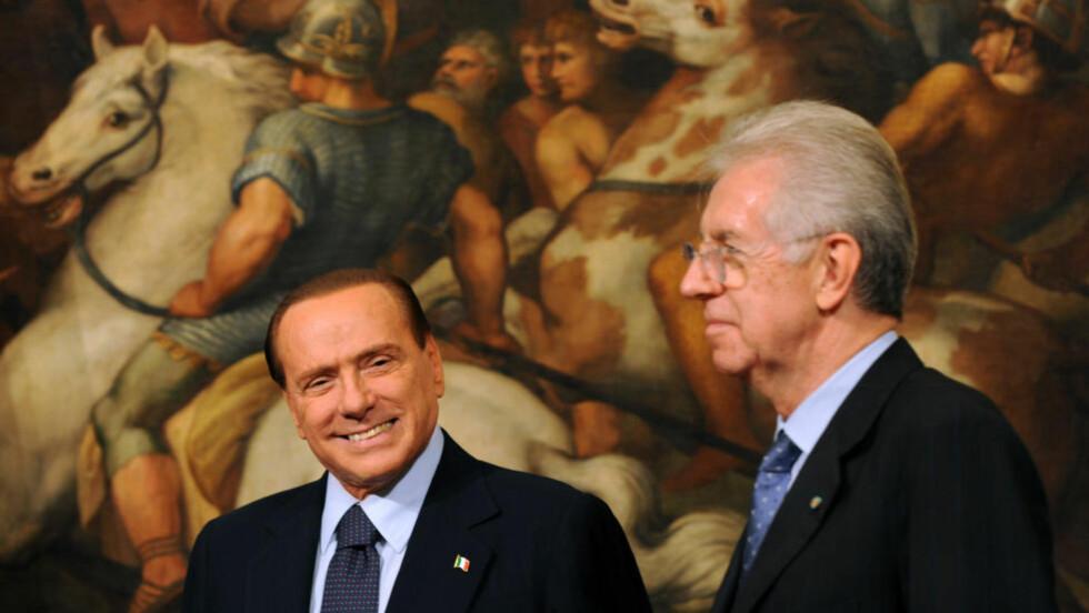 UTFORDRER IGJEN: Silvio Berlusconi måtte gi statsministerplassen til Mario Monti i november i fjor. Nå er han klar til å komme på banen igjen. Foto:    AFP / GABRIEL BOUYS