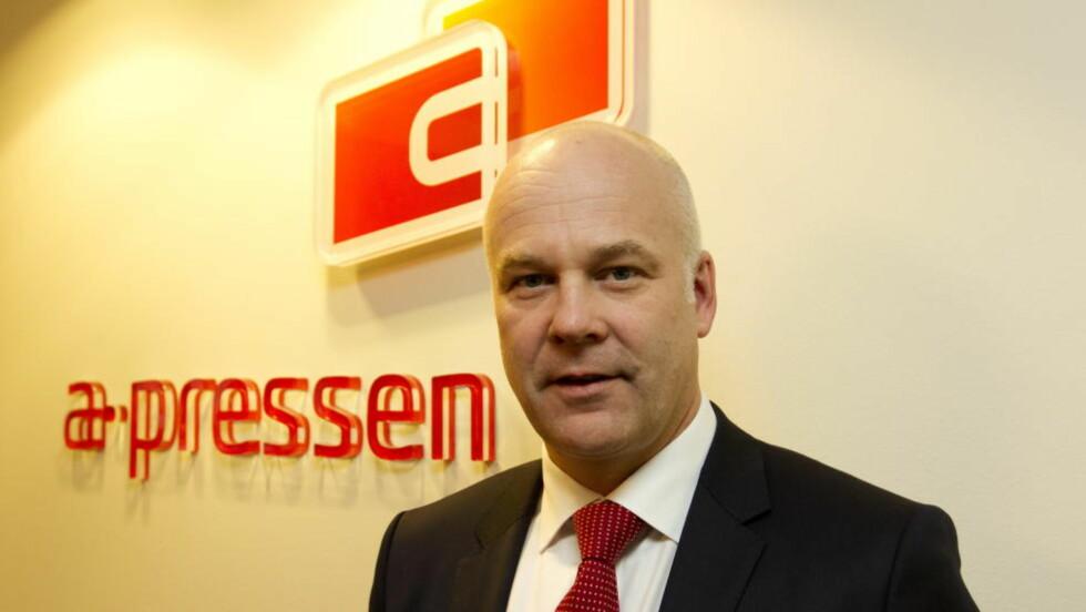 - TILFREDS: Thor Gjermund Eriksen, konsernsjef i A-pressen, er svært forsnøyd med Konkurransetilsynets vedtak. Han har tro på at de vil komme fram til en god løsning også med Medietilsynet. Foto: Terje Bendiksby / Scanpix