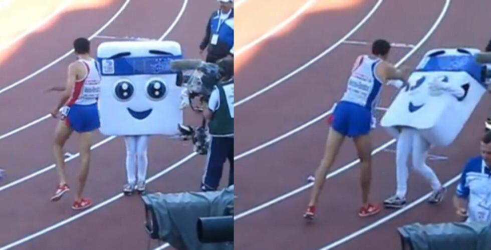 HVORFOR? Mahiedine Mekhissi-Benabbad hadde akkurat vunnet EM-gull på 3000 meter hinder da han gikk til angrep på EM-maskoten. Først slo han vekk en premiepose, og så dyttet han kraftig til maskoten.