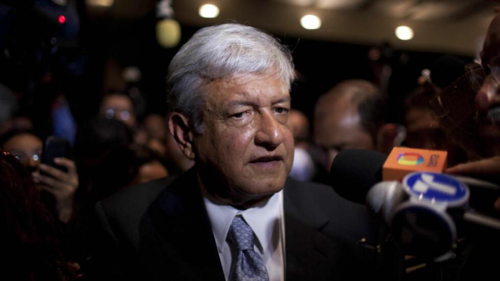 TAPTE IGJEN:  Presidentkandidat Andrés Manuel López Obrador tapte andre valgkamp på rad etter at PRIs kandidat Enrique Peña Nieto vant søndagens presidentvalg i Mexico. Foto: Alexandre Meneghini / AP Photo / NTB Scanpix