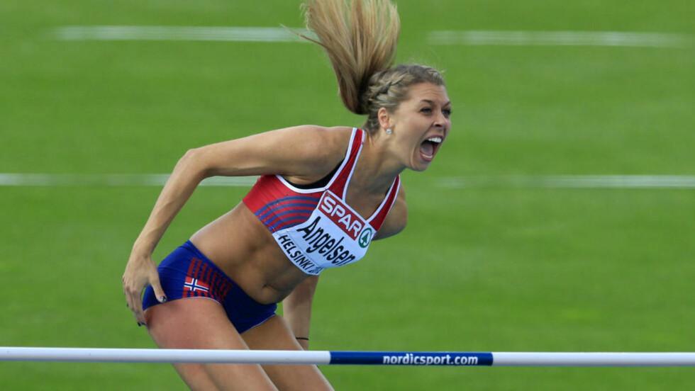 NY YNDLING: Utenfor friidrettsmiljøet var det ikke mange som hadde hørt om Tonje Angelsen før hun hoppet seg til sølv i EM i Helsinki. 22-åringen var et hårfint riv på 1,99 unna gullet. Foto: REUTERS/Laszlo Balogh