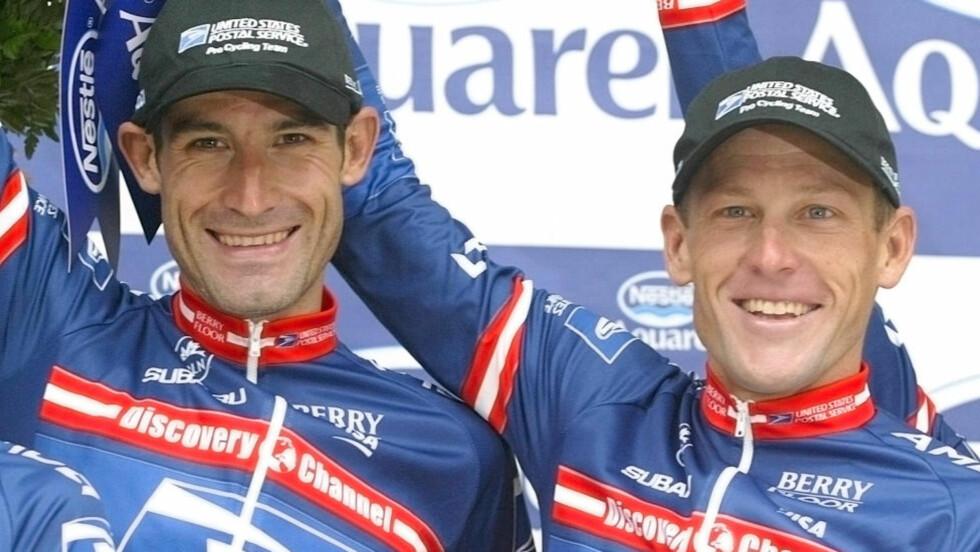 VITNER MOT ARMSTRONG: George Hincapie er tidligere lagkompis med Lance Armstrong. Nå skal han vitne mot sin gamle venn. Hincapie sykler årets Tour, og det skaper reaksjoner. Foto: AP Photo/Laurent Rebours