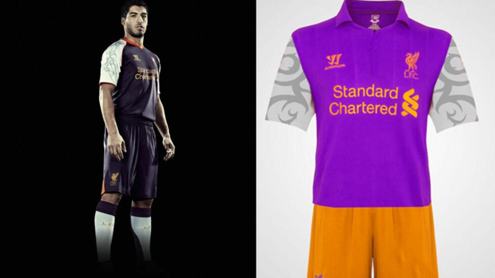 NY TREDJEDRAKT: Liverpool har lansert ny tredjedrakt. Her er Luis Suarez modell. For noen uker siden ble det spekulert i om drakta til høyre var Liverpools nye trøye. Foto: Liverpool FC
