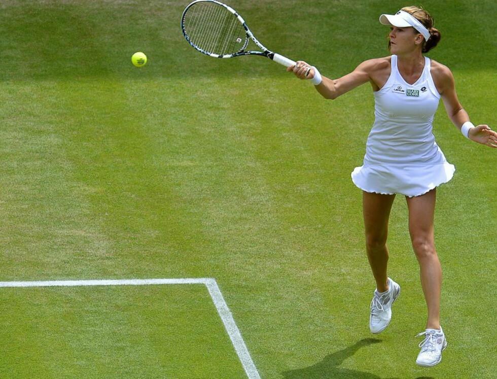 TRENGTE 70 MINUTTER: Agnieszka Radwanska brukte 70 minutter på å slå Angelique Kerber 6-3, 6-4. Foto:  EPA/TOBY MELVILLE/pool