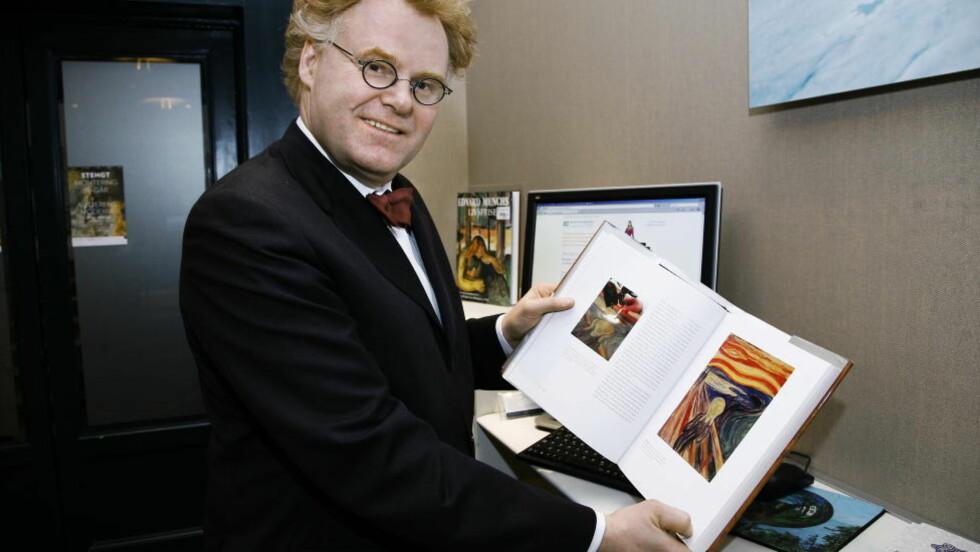 Morten Zontag fikk ikke solgt sitt Skrik-trykk på Masterpiece-messen i London.  Foto: Steinar Buholm/Dagbladet.