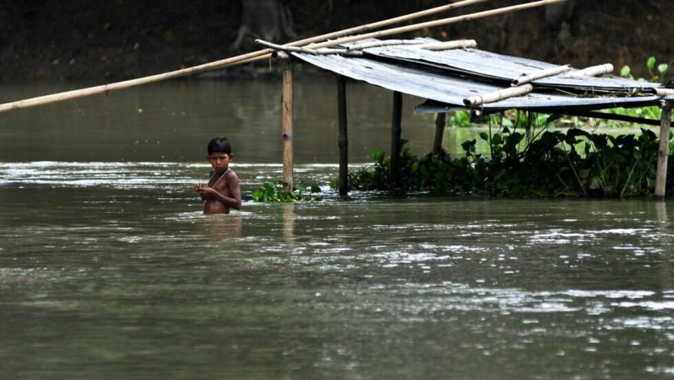 ENORME OVERSVØMMELSER: En liten indisk gutt forsøker å ta seg fram i oversvømte Naleni Village i India. Minst 120 mennesker er omkommet og seks millioner har blitt tvunget på flukt fra hjemmene sine på grunn av kraftig regnvær og store oversvømmelser nordøst i landet. Foto: AFP / Scanpix