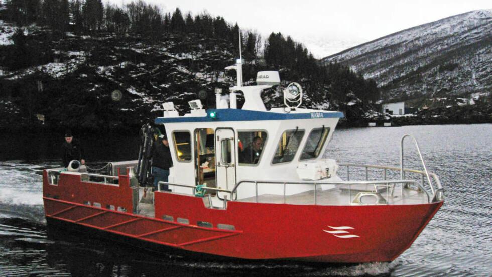 MOR OG BARN OMKOM: To personer omkom da oppdrettsbåten «Maria» kantret og sank i Store Kufjorden i Finnmark tirsdag i forrige uke.  Foto: Grovfjord Mek Verksted / NTB scanpix
