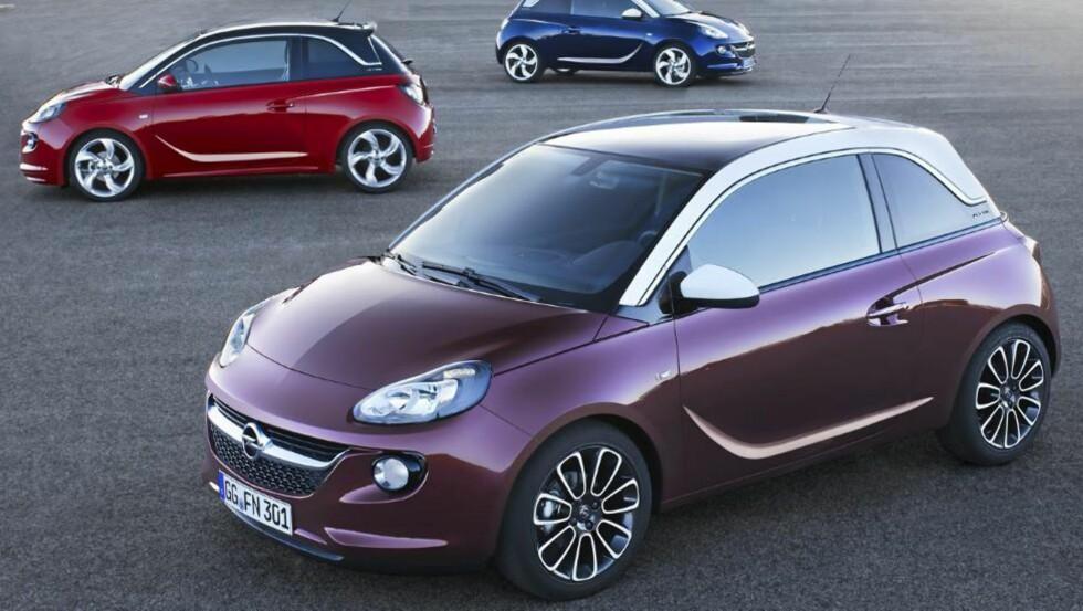 TRE VARIANTER: Opel Adam kommer i tre utstyrsversjoner: Jam, Glam og Slam. FOTO: Opel