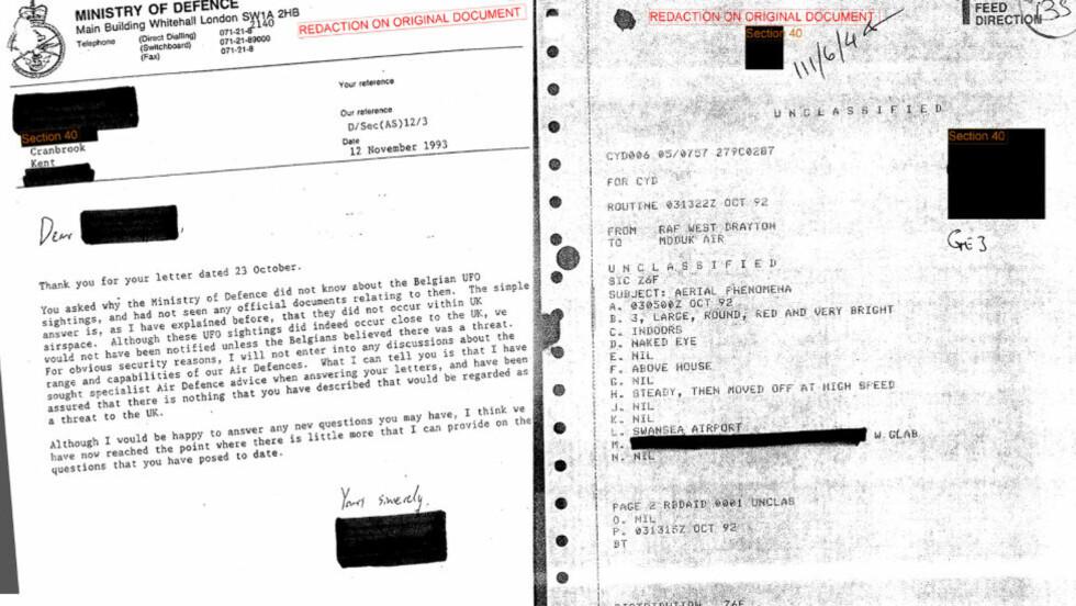 UFO-ARKIV: Dokumenter fra et hemmelig arkiv hos Forsvarsdepartementet i Storbritannia, avslører at observasjoner av utenomjordiske fartøyer lenge har blitt rapportert inn til departementet. Bildet fra er ett av flere tusen brev og dokumenter fra det hemmelige arkivet. Foto: National Archive