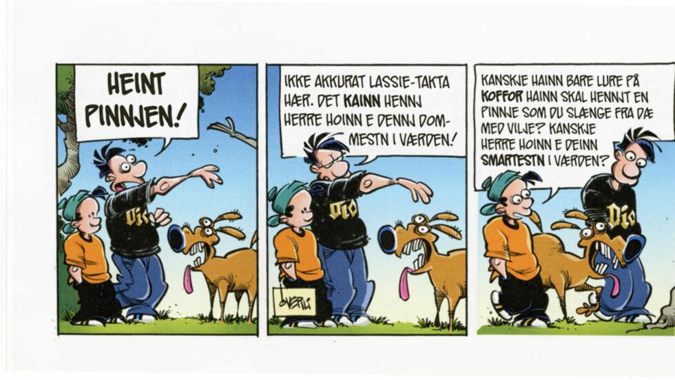TRØNDER: I utgaven for Midt-Norge har Pondus blitt trønder. Tegneseriestripen er hentet fra Pondus` sommeralbum, av Frode Øverli.