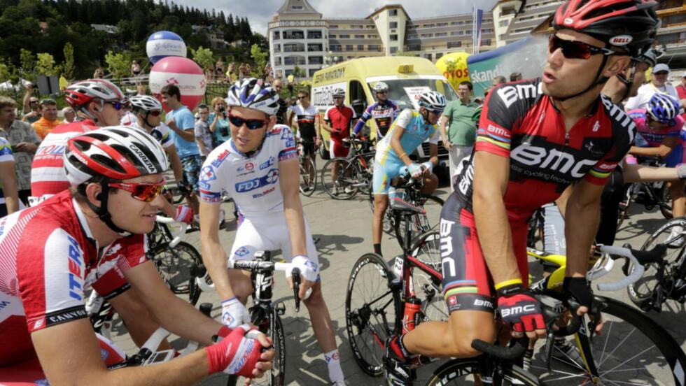 HELT UTE AV FORM: Thor Hushovd fikk et sjokkmøte med rittfarten i Tour de Pologne, og kroppen har fått mye juling. Nå bryter han.  Foto: Daniel Sannum Lauten / NTB scanpix