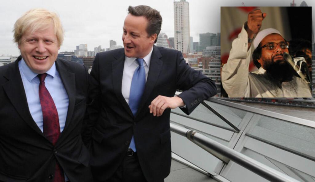 ROLLEMODELLER: Den verdenskjente terroristen Hafiz Muhammed Saeed drar frem David Cameron og Boris Johnson som gode forbilder for pakistanske ledere. Foto: NTB SCANPIX