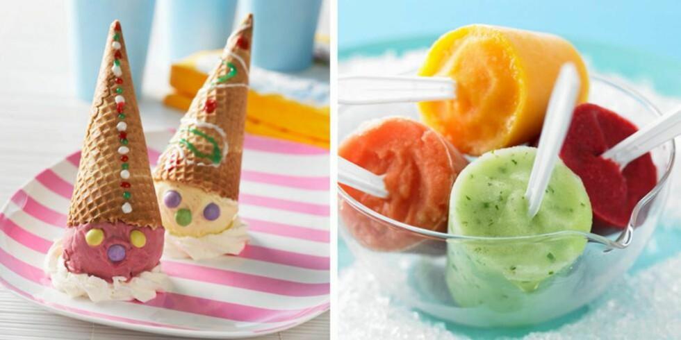 TA DET KULI: Iskremklovner med Nonstop og marengs - eller fruktis av mango, grønn melon, bringebær og jordbær? Foto: stockfood