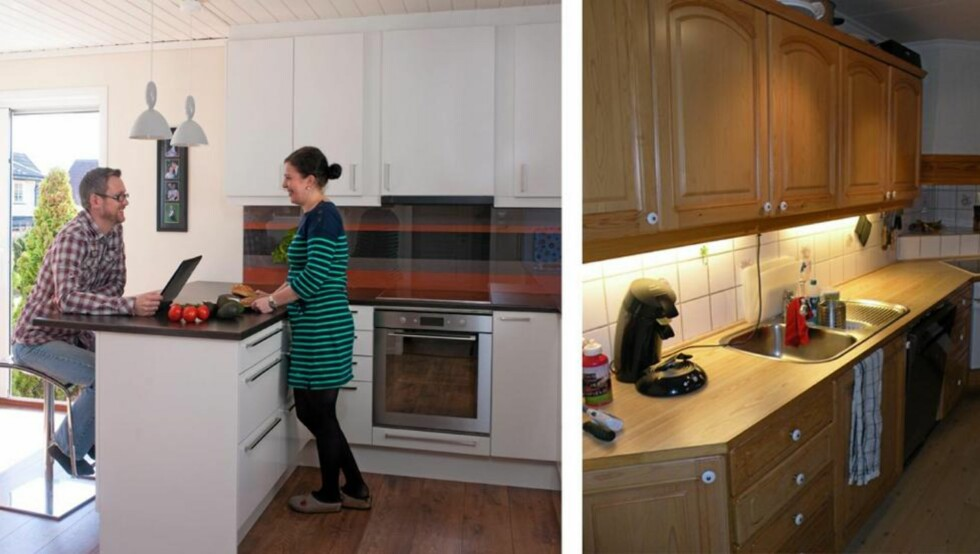 ETTER OG FØR: Veggen mellom kjøkken og stue er revet, og det er satt inn en dobbelt glassdør som slipper lyset inn i det nye rommet.  Foto: Espen Grønli/privat