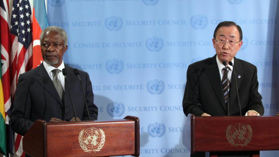 FREDSARBEID:  Sikkerhetsrådet skal nå behandle et vestlig resolusjonsutkast som tar til orde for å innføre sanksjoner mot Syria, dersom ikke Assad-regimet trekker alle tunge våpen ut av landets byer innen ti dager. Foto: Allison Joyce / Reuters / NTB Scanpix