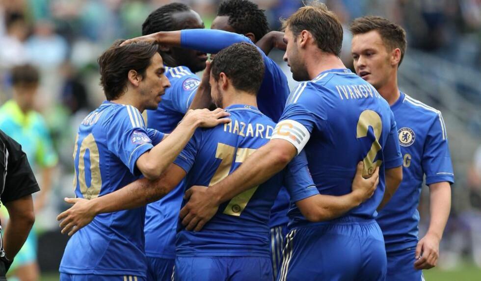STARTET MED SEIER: Chelsea åpnet sommerens USA-turne med 4-2-seier over Seattle Sounders. Foto: Otto Greule Jr/Getty Images/AFP