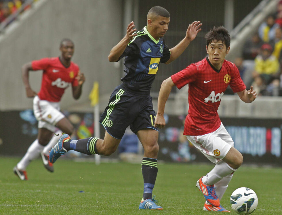 MED BLIKKET HEVET: Manchester United-manager Alex Ferguson var fornøyd med Shinji Kagawas debut fra start for Manchester United. Foto: AP Photo/Schalk van Zuydam/NTB scanpix