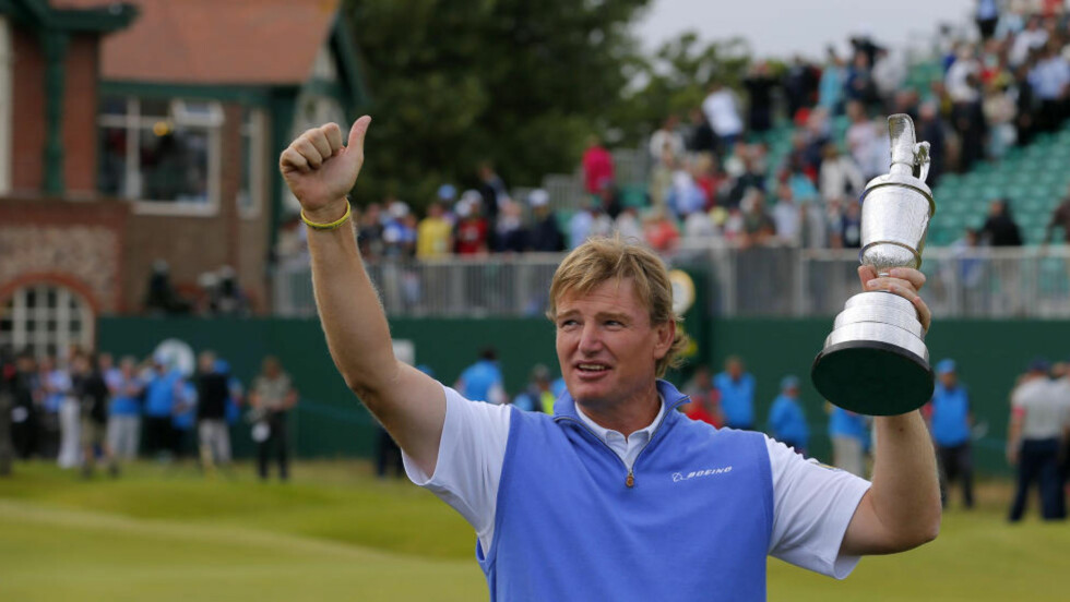 VANT: Sør-afrikaneren Ernie Els vant British Open i golf etter en nervepirrende avslutning. Foto: Reuters / Brian Snyder