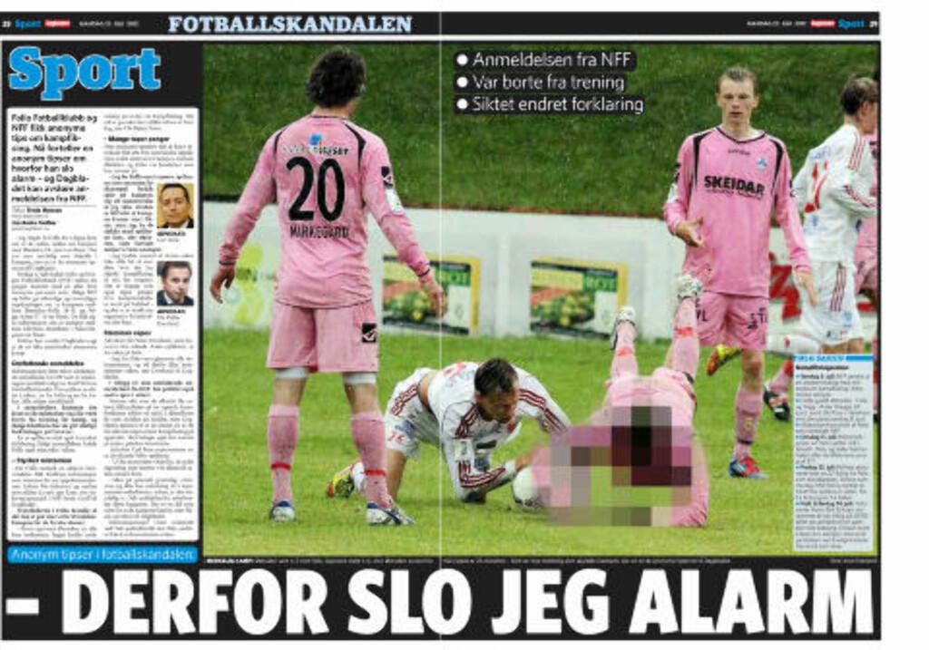 SLO ALARM:- Det var mye merkelig som skjedde i denne kampen, sier en av de anonyme tipserne til Dagbladet i dag. Faksimile: Dagbladet